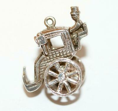 Carriage With Moving Wheels Sterling Silver Vintage Bracelet Charm 6.3g