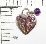 Heart With Purple Bead Enamel Sterling Silver 925 Bracelet Charm
