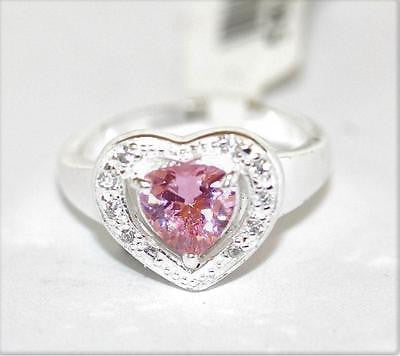 New Sterling Silver 925 Pink Faceted Crystal Pave Love Heart Ring Size 7