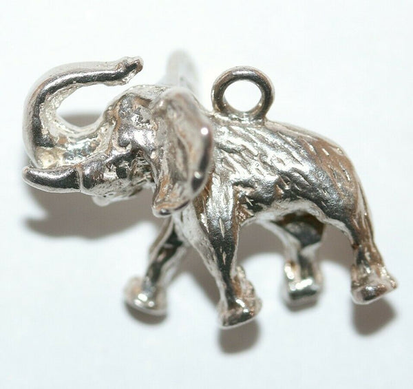 Lucky Elephant Trunk Up Sterling Silver Vintage Bracelet Charm, Solid 4.1g