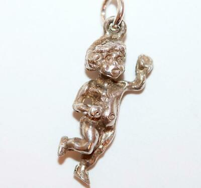 3d Cherub Baby Sterling Silver 925 Bracelet Vintage Charm With Gift Box 2.2g