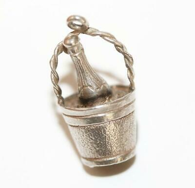 Bottle In Ice Bucket Sterling Silver 925 Vintage Bracelet Charm With Gift Box