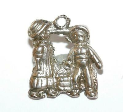 Jack And Jill With Pail Of Water Sterling Silver 925 Vintage Bracelet Charm 2.3g