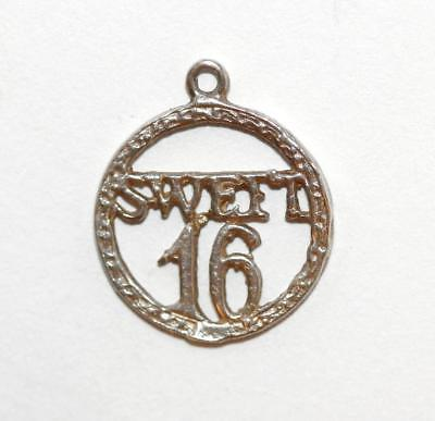 Sweet Sixteen Birthday Medallion Sterling Silver Vintage Bracelet Charm Pendant
