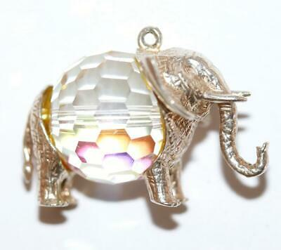 Rare Lucky Elephant Crystal Sterling Silver Vintage Bracelet Charm, Larger 12g