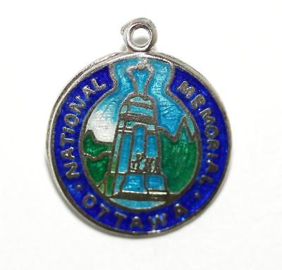 Ottawa Canada Memorial Sterling Silver Enamel Vintage Charm Signed BMCO