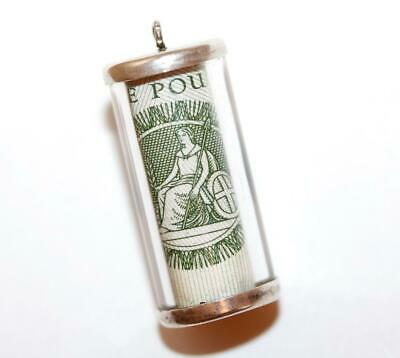 Vintage Charm Emergency Money Cylinder UK One Pound 925 Sterling Silver 4.1g