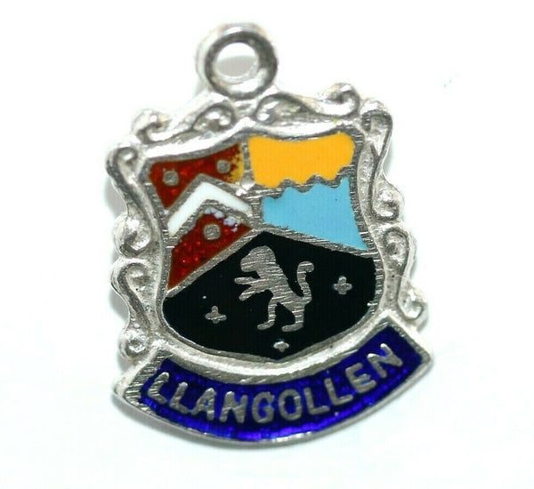 Llangollen Wales Sterling Silver Enamel Travel Shield Vintage Charm by AS
