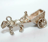 Horse Drawn Wagon With Moving Wheels Sterling Silver Vintage Bracelet Charm