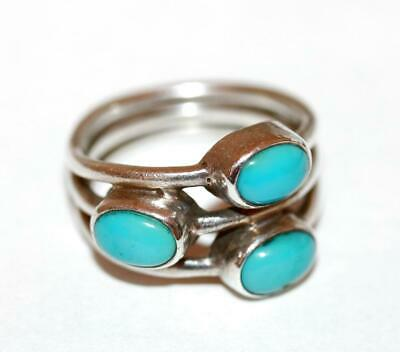 Sterling Silver 925 Three Stone Blue Howlite Triple Band Ring Size 6.5