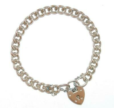 "7.5"" Vintage English Sterling Silver Charm Bracelet Padlock Clasp by NCRCo 21g"