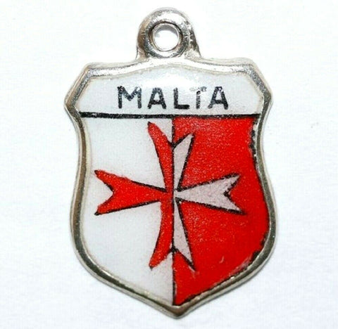 Malta, Maltese Cross Sterling Silver Enamel Travel Shield Vintage Bracelet Charm