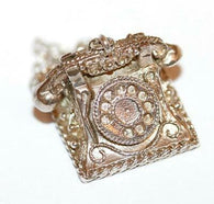 Rare Moving Telephone Sterling Silver Vintage Bracelet Charm, Ornate Detail 7.6g