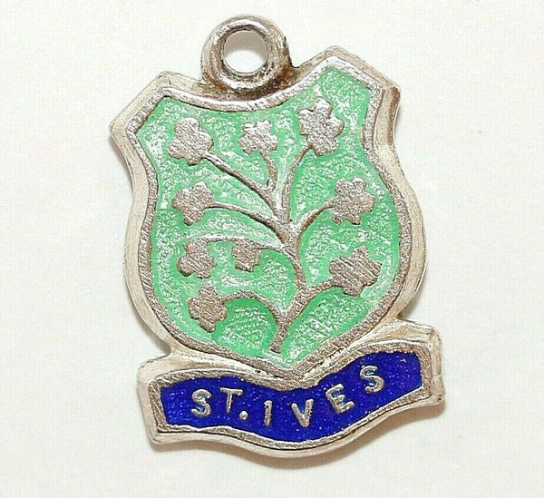 St Ives England Sterling Enamel Shield Vintage Charm by BI Silver