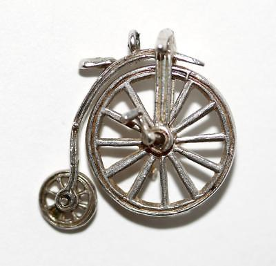 Moving Penny Farthing Bicycle Sterling Silver Vintage Charm Signed BI Silver