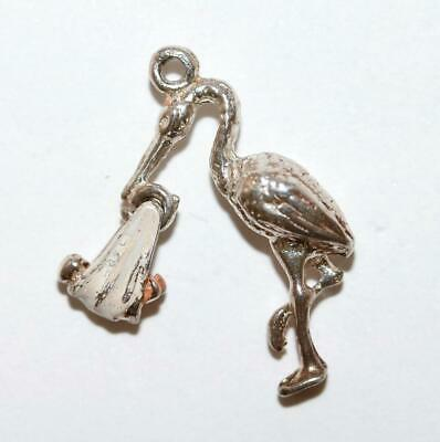 Stork With Moving Baby Sterling Silver Vintage Bracelet Charm With Gift Box g