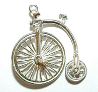 Nuvo Big Wheel Bicycle Sterling Silver Vintage Charm, Two Moving Wheels