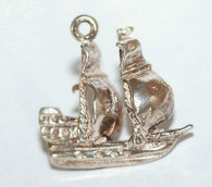 Galleon Sailing Ship Sterling Silver Vintage Bracelet Charm With Gift Box 2.5g