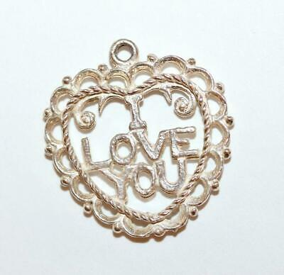 I Love You Heart Sterling Silver Vintage Bracelet Charm Pendant With Gift Box