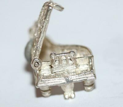 Opening Grand Piano Sterling Silver Vintage Bracelet Charm With Gift Box 4.2g