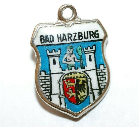 Bad Harzburg Town In Germany 800 Silver Enamel Travel Shield Vtg Charm by REU