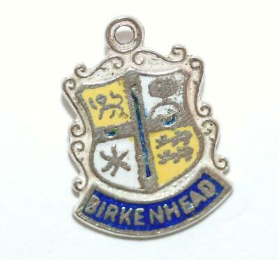 Birkenhead England Sterling Silver Enamel Travel Shield Vintage Charm by WBS