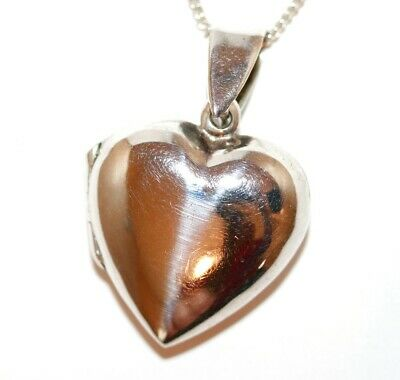Sterling Silver 925 Opening Puffy Heart Locket Pendant Necklace 18""