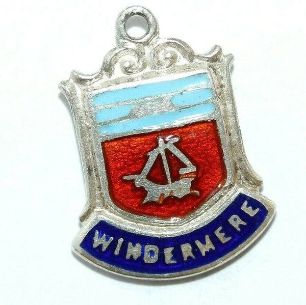Windermere Cumbria England Sterling Silver Enamel Travel Shield Vintage Charm