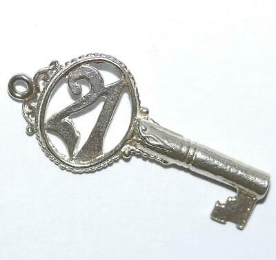 21 Skeleton Key Sterling Silver 925 Bracelet Charm Pendant With Gift Box