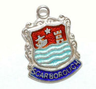 Scarborough England Sterling Silver Enamel Travel Shield Vintage Charm by A.S