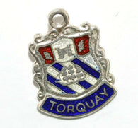 Torquay England Sterling Silver Enamel Travel Shield Vintage Charm by AS