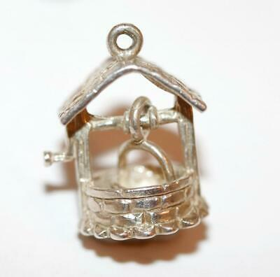 Wishing Well With Moving Bucket Vintage Sterling Silver Bracelet Charm 3.6g