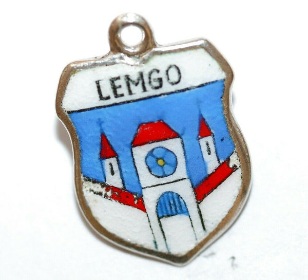 Lemgo Town in Germany 800 Silver Enamel Travel Shield Vintage Charm by REU
