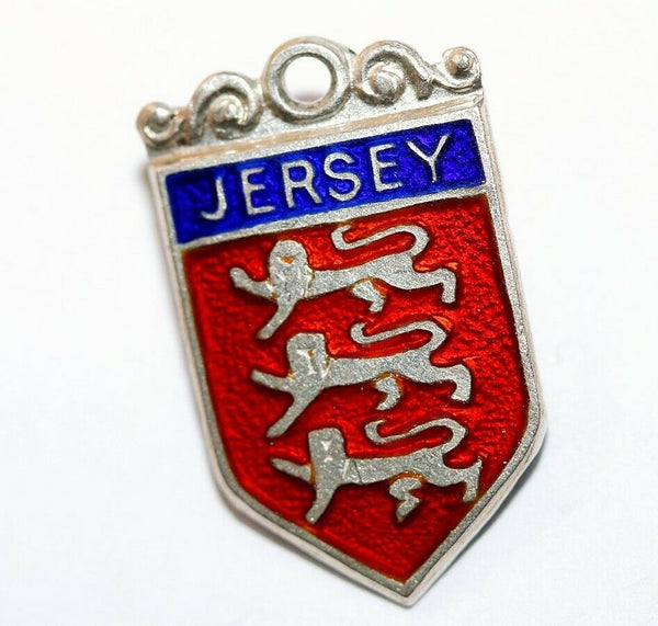 Jersey England Sterling Silver Enamel Travel Shield Vintage Charm by D&F