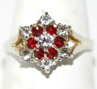 Sterling Silver .66 ctw Garnet and White Topaz Hexagram Star Ring Size 8.25