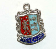 Shoreham England Sterling Silver Enamel Travel Shield Vintage Charm
