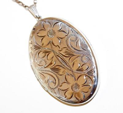 Vintage Sterling Silver Oval Etched Flower Locket Pendant Necklace 26""