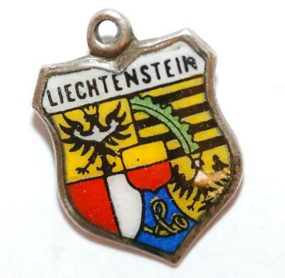 Vintage Liechtenstein 800 Silver Enamel Travel Shield Charm, Made In W. Germany