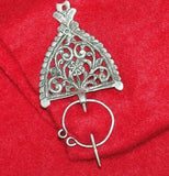 Rare Antique Sterling Silver Celtic Scottish Penannular Scarf Shawl Pin c.1900