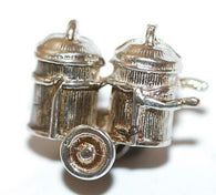 Rare Moving Trash Can Cart With Wheels Sterling Silver Vintage Bracelet Charm