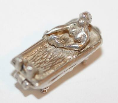 Rare Woman In Opening Bathtub Vintage Sterling Silver Bracelet Charm, Book Charm