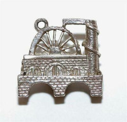 Water Wheel Bridge Sterling Silver Vintage Bracelet Charm With Gift Box 4.3g