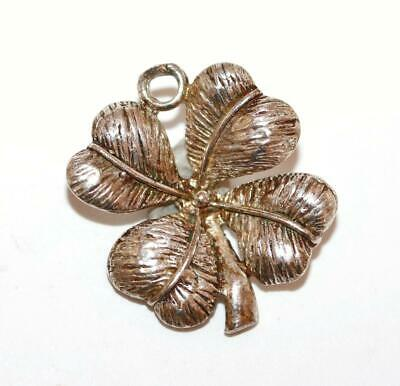 Lucky Four Leaf Clover Sterling Silver Vintage Bracelet Charm With Gift Box 1.9g