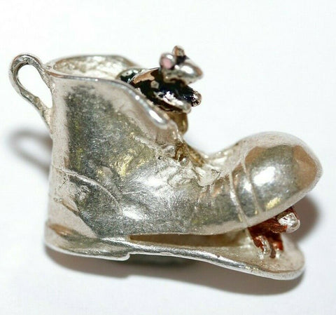 Nuvo Mice In Old Boot Sterling Silver Enamel Vintage Bracelet Charm 3.5g