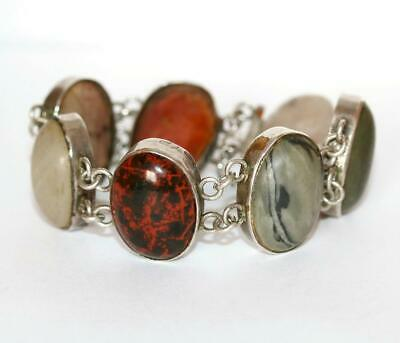 Antique Victorian Scottish Agate Sterling Silver Panel Bracelet c.1890