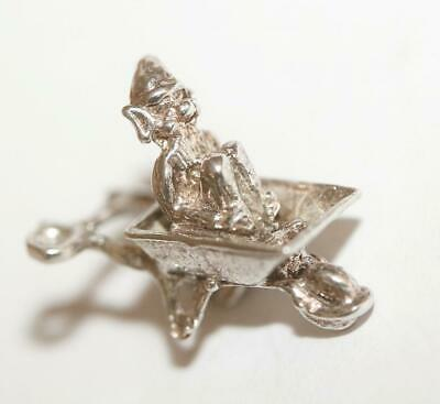 Lucky Pixie In Wheelbarrow Sterling Silver Vintage Bracelet Charm With Gift Box