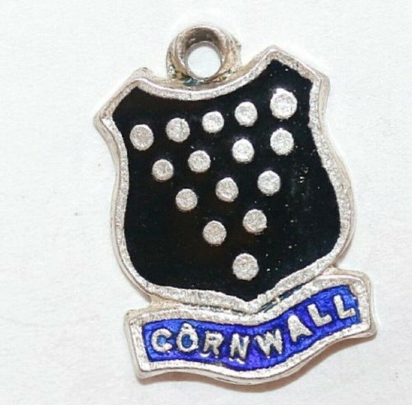 Cornwall UK Sterling Enamel Shield Vintage Charm by BI Silver
