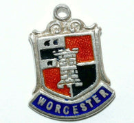 Worcester England Sterling Silver Enamel Travel Shield Vintage Charm