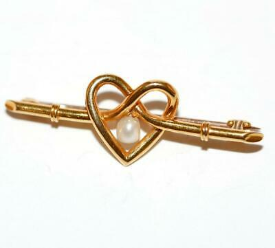 Estate 15ct Yellow Gold Pearl Heart Pin Brooch 2.7g
