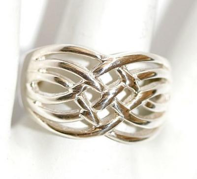 Ladies Sterling Silver 925 Celtic Weave Wide Band Ring Size 8